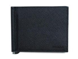 プラダ 財布 2MN077 メンズ PRADA 二つ折り マネークリップ 札入れ サッフィアーノ 1 NERO ネロ カーフブラック アウトレット あす楽対応