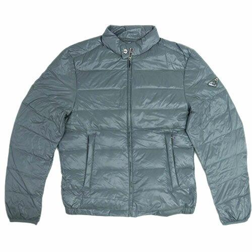 プラダ ダウンジャケット SGA462 PRADA メンズ ジップアップ ポーチ付き ナイロン ACCIAIO ブルーグレー 50サイズ アウトレット あす楽対応