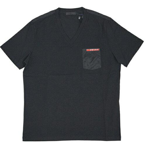 プラダ Tシャツ SJM994 PRADA メンズ 半袖 Vネック コットンストレッチ NERO ネロ ブラック アウトレット あす楽対応