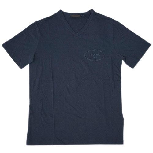 プラダ Tシャツ UJM507 PRADA メンズ 半袖 Vネック コットン100% BLEU ネイビー アウトレット あす楽対応