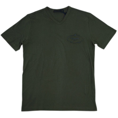 プラダ Tシャツ UJM507 PRADA メンズ 半袖 Vネック コットン100% MILITARE ミリターレ ミリタリーグリーン Sサイズ アウトレット あす楽対応