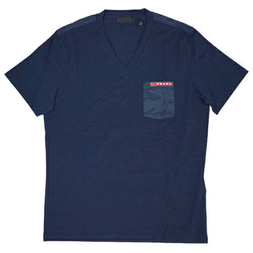 プラダ Tシャツ SJM994 PRADA メンズ 半袖 Vネック コットンストレッチ BLEU ネイビー Sサイズ アウトレット あす楽対応