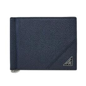 プラダ 財布 2MN077 PRADA メンズ 二つ折り マネークリップ 札入れ VIT.MICRO GRAIN BALTICO バルティコ カーフネイビー 三角プレート アウトレット あす楽対応