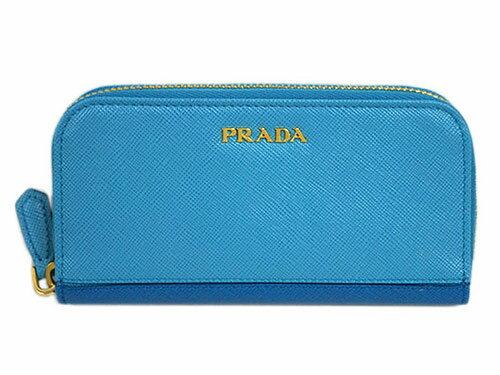プラダ キーケース 1PG604 PRADA 6連キーケース ラウンドジップ サッフィアノ ストライプ VOYAGE+CELESTE カーフブルー+スカイブルー アウトレット
