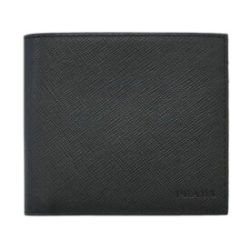 プラダ 財布 2MO100 PRADA メンズ 二つ折り 札入れ SAFFIANO 1 NERO ネロ カーフブラック アウトレット あす楽対応