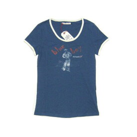 リプレイ Tシャツ W5758 REPLAY レディース 半袖 丸首 blue boyプリント ブルーxホワイト Sサイズ あす楽対応