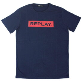 リプレイ Tシャツ M3720 REPLAY メンズ 半袖 丸首 ロゴプリント ネイビー/レッド Mサイズ 19603 あす楽対応