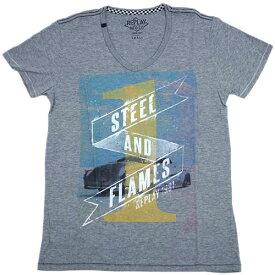 リプレイ Tシャツ M6555 REPLAY メンズ 半袖 Vネック プリント STEEL AND FLAMES 杢グレー/ホワイト あす楽対応