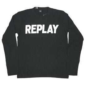 リプレイ Tシャツ M3330S REPLAY メンズ 長袖 丸首 REPLAY ロゴプリント ブラック/ホワイト Mサイズ 30112 あす楽対応