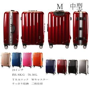 【新色入荷】スーツケース 軽量 TSAロック 送料無料 1年保証 中型 M SIZE SUITCASE 4輪Wキャスター アルミ合金フレーム 旅行カバン キャリーケース 旅行用品 国内 海外 修学旅行 海外留学 ビジネス