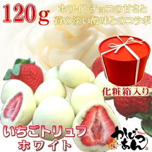 いちごトリュフ ホワイト 120g フリーズドライ苺をホワイトチョコレートでコーティングしたスイーツ 苺トリュフにしかない甘さと酸味のバランスが絶妙!サクサクの食感を楽しめ