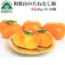 柿 和歌山県産 秀品 送料無料 4kg 16〜26個 たねなし柿 種無し柿 種なし柿 種無しかき 種なし 通販 旬 かき カキ フル…