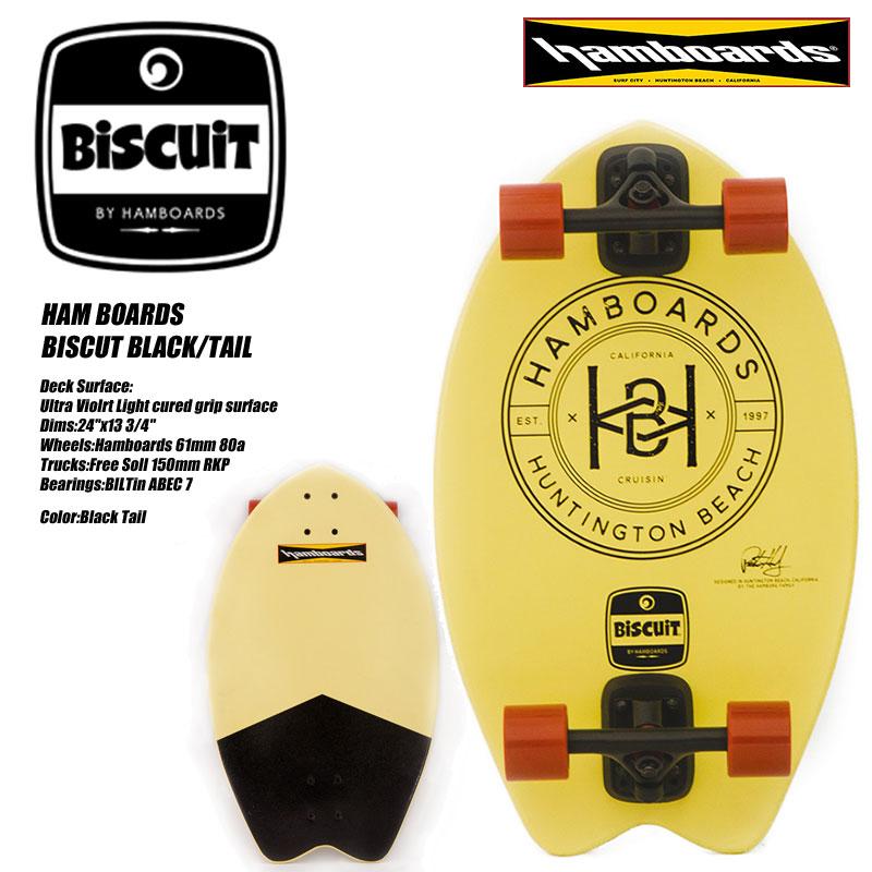 ハムボード ロングサーフスケートボードHAM BOARDS BISCUT Black tail【ランドSUP】【H100032】