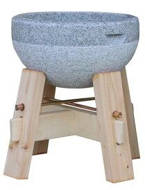 餅(もち)つき用石臼 2升用 御影石使用 木台付き