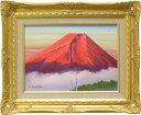 絵画 油絵 赤富士 (道尾紀良) 送料無料 【肉筆】【油絵】【富士】【3・4号】