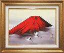絵画 日本画 赤富士飛翔 (田中芳園) 送料無料 【肉筆】【日本画】【富士】【6号】