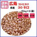 【ポイント10倍】【送料無料】広島県産コシヒカリ 30kg(5kg×6袋)無地袋入り【28年産1等米】