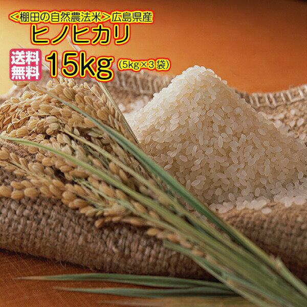 送料無料 広島県産ヒノヒカリ15kg 5kg×3無地袋 特A米30年産1等米