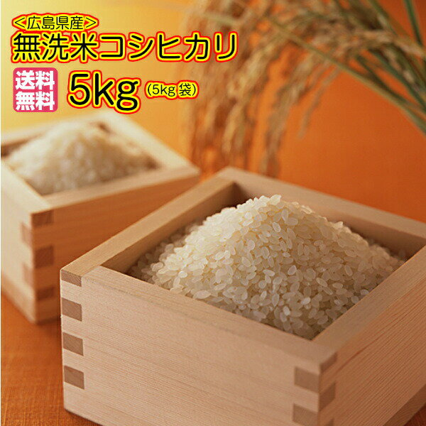 送料無料 無洗米 広島県産コシヒカリ 5kg