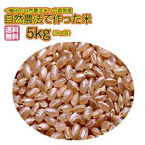 送料無料 広島県産自然農法で作った米 5kg 玄米 青袋令和元年産 1等米