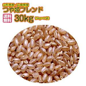 送料無料 つや姫&広島県産コシヒカリ合せ銘柄米 30kg 玄米特別栽培米 特別栽培米 令和2年産
