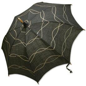 麻の日傘 玉渋染め鉄媒染と縄模様