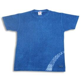 ヘンプコットン藍染Tシャツ 小紋