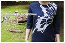 藍染オーガニックコットン7分袖(7分丈)Tシャツ 蝶々