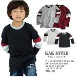 KAKオリジナル長袖Tシャツ綿100%無料アップルケ付き送料無料シンプルTシャツ