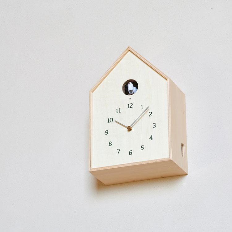 【送料無料】鳩時計 掛け時計 置き時計 バードハウスクロック Birdhouse Clock NY16-12 Lemnos[レムノス]【壁掛け時計 時計 壁掛け はと時計 ハト時計 ライトセンサー カッコー時計 デザイン 白 ホワイト かわいい 雑貨 おしゃれ インテリア】
