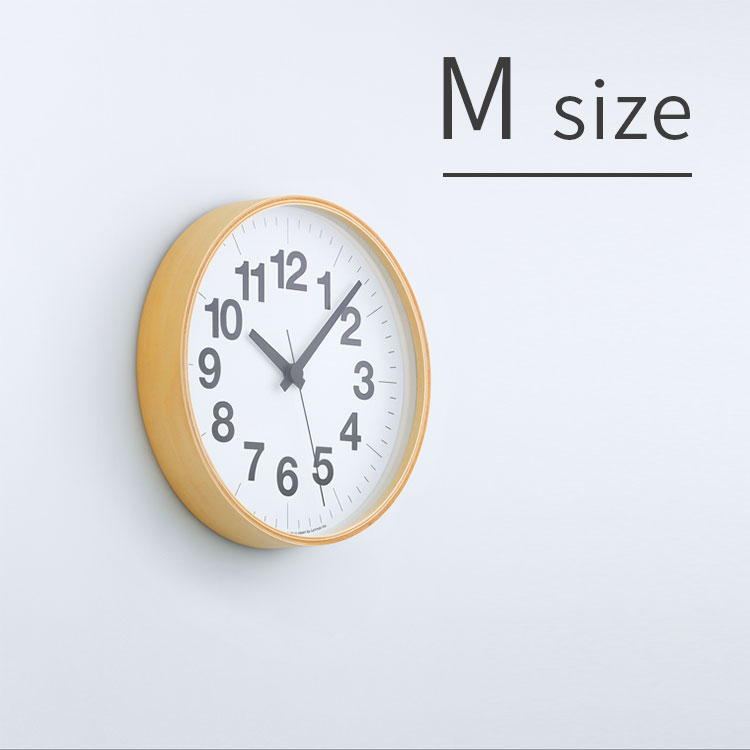 掛け時計 ナンバーの時計 Mサイズ Lemnos[レムノス] YK16-03 M【スイープムーブメント スイープセコンド 壁掛け時計 時計 壁掛け プライウッド ビンテージ ナチュラル 北欧 テイスト デザイナーズ かわいい おしゃれ インテリア 新生活 木製 新築 出産】