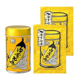 ◆送料無料◆八幡屋礒五郎 七味唐辛子(ゆず入り) ゆず七味 12g×1缶・15g×2袋 セット