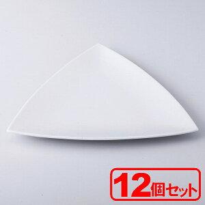 【12枚セット】シャインホワイト三角皿 輸入品 (大皿)約26x25.8x1.8cm