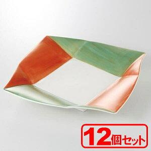 【12枚セット】美濃焼 あけぼの金彩 角24cm皿 (大皿) 約24.5x24.5x3.3cm