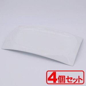 【4枚セット】シャインホワイト アーチプラター(小) 輸入品(大皿)約35.2x21x3cm