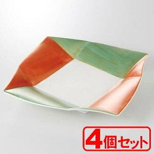 【4枚セット】美濃焼 あけぼの金彩 角24cm皿 (大皿) 約24.5x24.5x3.3cm