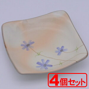【4枚セット】美濃焼 姫コスモス紫ゆらぎ70角皿(角皿)約17.5x17.5cm