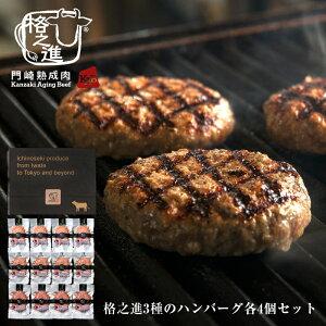 ハンバーグ 和牛 内祝い 国産 ギフト 冷凍 送料無料 格之進 3種の格之進ハンバーグセット (各4個) 黒毛和牛 白金豚 塩麹