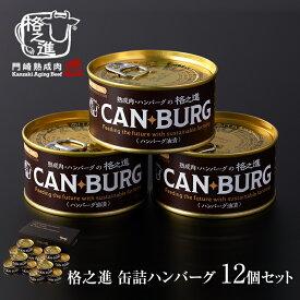 缶詰め 防災 プレミアム ギフト 格之進 ハンバーグ 12缶 セット 非常食 無添加 缶バーグ