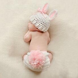 Baby COSTUME うさぎデザイン ピンクリボン ラビット 2点セット ニューボーンフォト 寝相アート 月齢フォト 新生児フォト 写真撮影 記念写真 赤ちゃん ベビー ニット 耳付き
