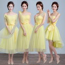 ブライズメイド ドレス エロー 黄色 ゲストドレス フォーマル 結婚式 お揃いドレス 二次会 ブライダル ミディ丈ドレ…
