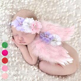 送料無料 つばさデザイン Baby COSTUME 翼 エンゼル ヘッドバンド アクセサリー 2点セット 寝相アート 月齢フォト 新生児フォト 写真撮影 記念写真 赤ちゃん ベビー 楽天海外直送