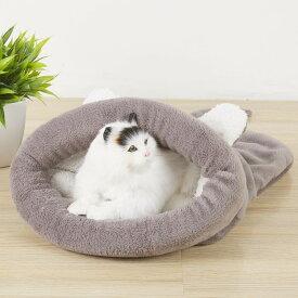 ペット用寝袋 ペットクッション 保温防寒 あったか ドーム型猫ハウス 小型犬 猫用 猫寝床 秋冬用 ふわふわ 犬ベッド 犬小屋 グレー ブラウン ピンク 50x40cm/65x55cm