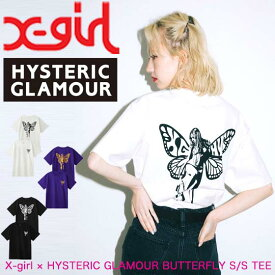 X-girl エックスガール 【X-girl × HYSTERIC GLAMOUR BUTTERFLY S/S TEE】 レディース 半袖 Tシャツ ヒステリックグラマー 105204011014