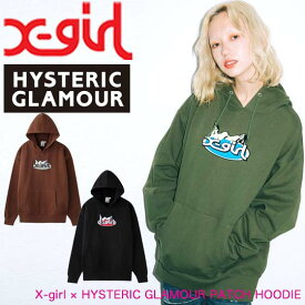 X-girl エックスガール 【X-girl × HYSTERIC GLAMOUR PATCH HOODIE】 ヒステリックグラマー スウェット フーディー パーカー レディース 105204012023