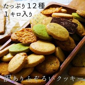 【ふぞろいのクッキー 12種1kg 12種/国産/訳あり/クッキー/ココナッツ/レーズン/ココア/セサミ/シナモン/抹茶/オレンジ/くるみ