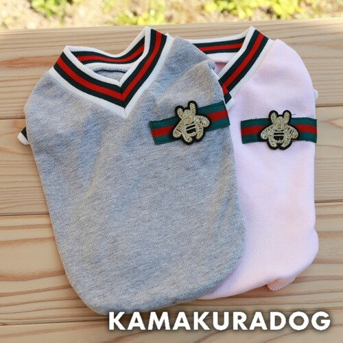 【鎌倉DOG】【犬の服】【ドッグウェア】レッドライン半袖Vネック