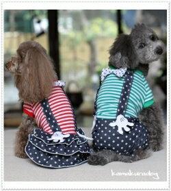 ◆メール便送料無料◆【ドッグウェア】【犬 服】ドットサスペンダーつなぎ&ワンピース