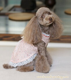 【ドッグウェア】【犬の服】レースフリルワンピース