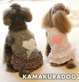 【ドッグウェア】【トイプードルの服】【犬 服】ハートリボンワンピース